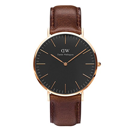 CLASSIC BLACK新品Daniel Wellington ダニエル ウェリントン BRISTOL メンズ腕時計 クラッシー 本革  腕時計 ピンクゴールド 40mm  [並行輸入品]