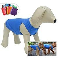 犬ノースリーブTシャツ、大型中型小型犬用のカジュアルドッグコットン服ベストTシャツ、100%着心地の良い、ペットのバック(M、ブルー)