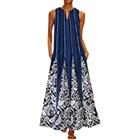 DIANEND Plus Size Dresses for Women Boho Vintage Sleeveless Casual Retro Print V-Neck Full Length Maxi Dresses