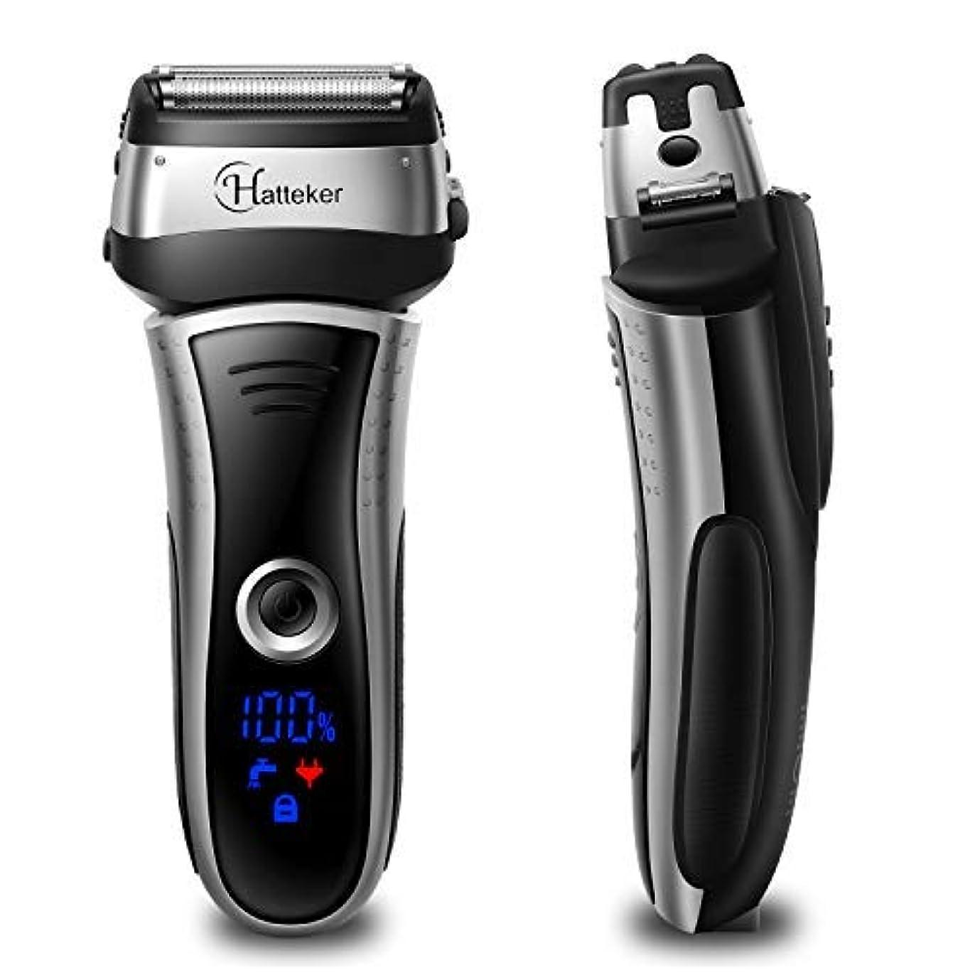 そばにペスト誓約HATTEKER メンズシェーバー ひげそり 電動髭剃り 往復式シェーバー 3枚刃 USB充電式 LEDディスプレイ お風呂剃り & 丸洗可 替刃付きブラック