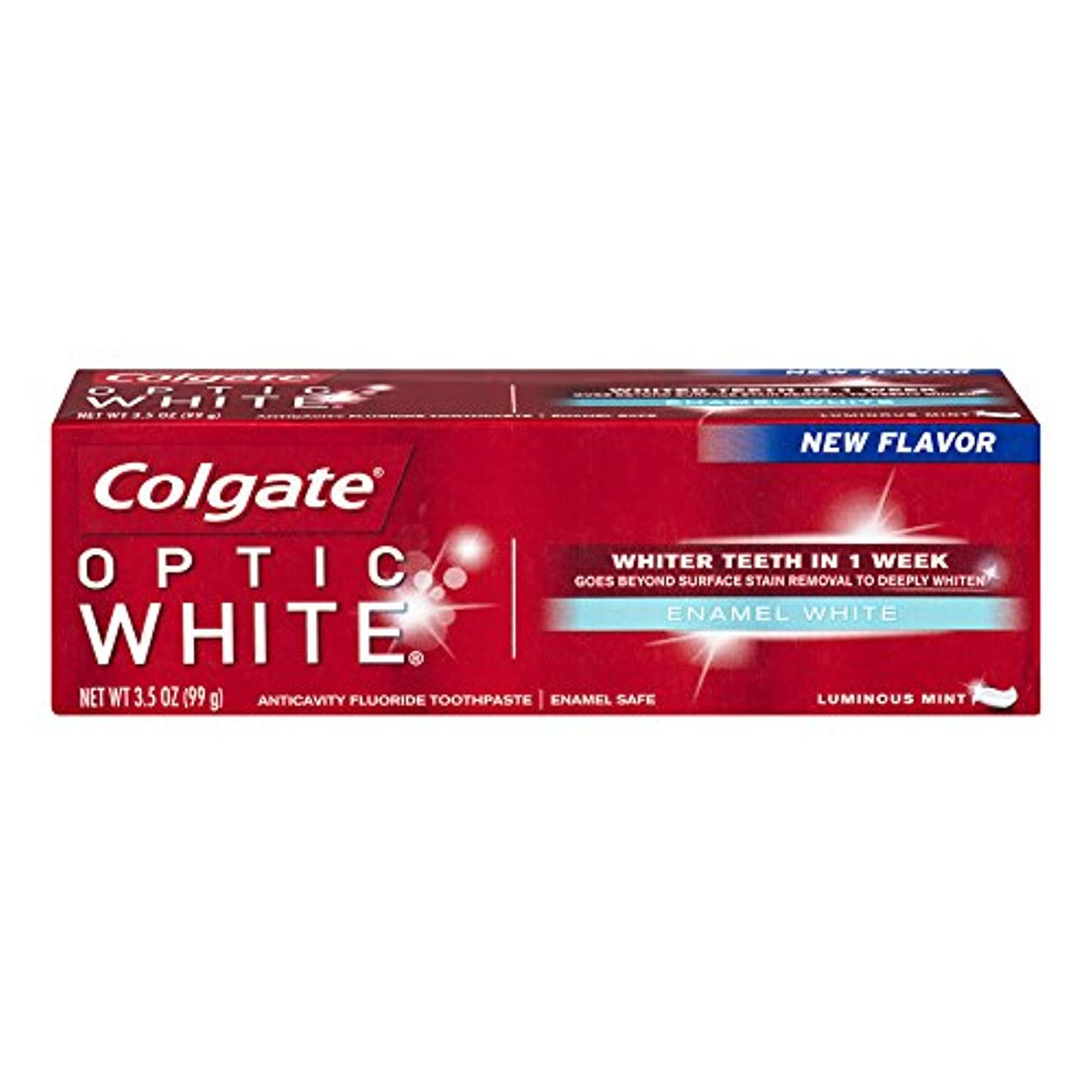 タイピスト不快アフリカコルゲート ホワイトニング Colgate 99g Optic White Enamel White 白い歯 歯磨き粉 ミント