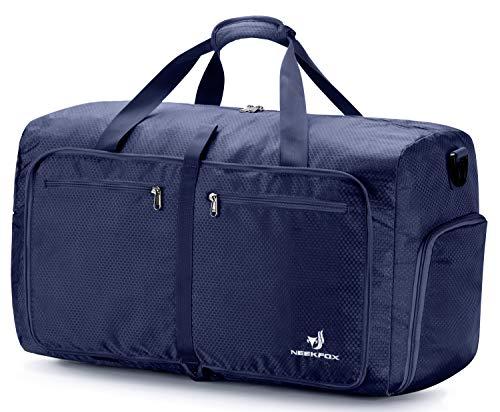 NEEKFOX 折りたたみ 旅行バッグ トラベルバッグ 折りたたみバッグ 大容量 軽量 防水 コンパクト 旅行 出張 整理用 60L (02.ネイビー)