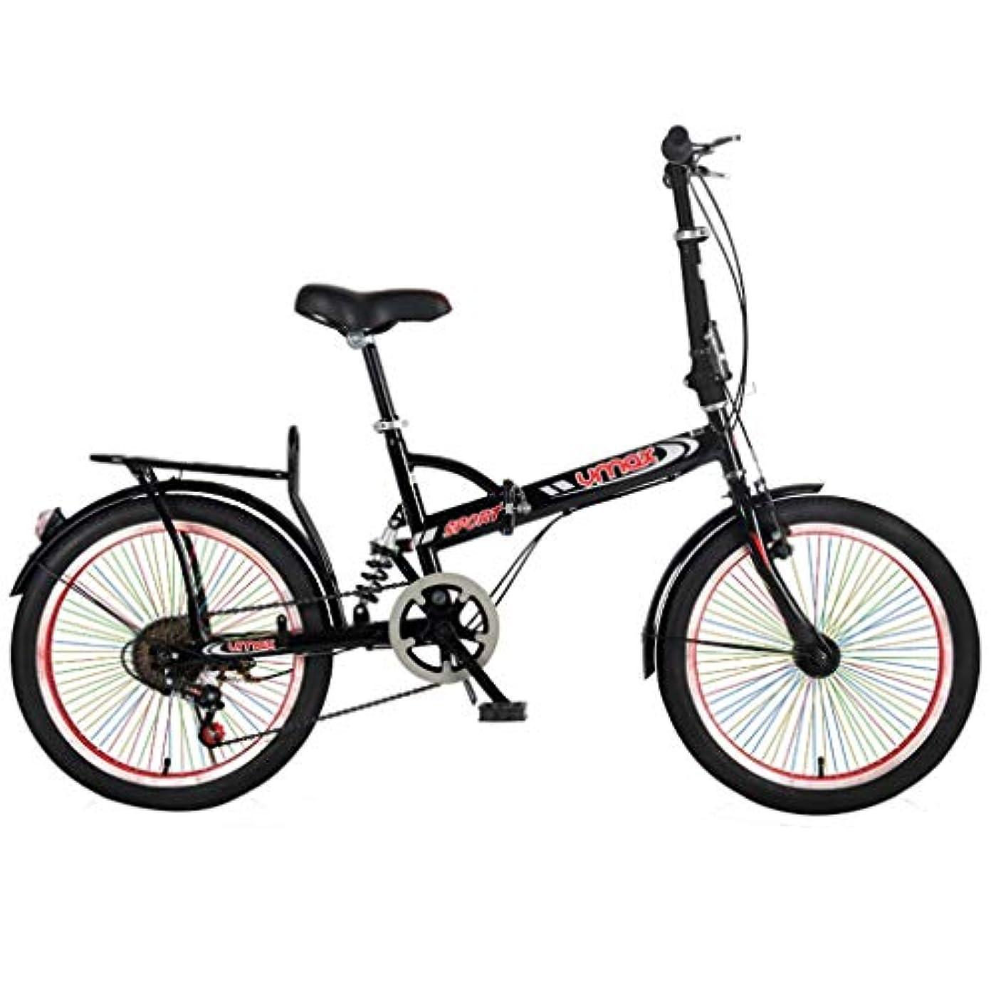 電報任命読みやすさGWM 20インチ折りたたみ自転車マウンテンバイクカラーホイールシングルスピード自転車の女性と男性の市通勤自転車、レッド、ブラック