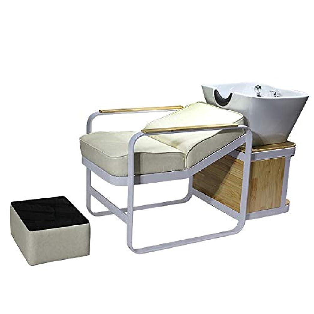雪だるま版通路シャンプーチェア、逆洗ユニットシャンプーボウル理髪シンクシンクチェア用スパ美容院機器用半埋め込みフラッシュベッド
