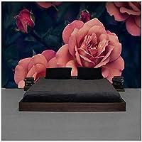 山笑の美 カスタム壁画美しい手描きのバラのテレビの背景ピンクのバラ大きな花の壁紙ホテルの壁紙-120X100CM