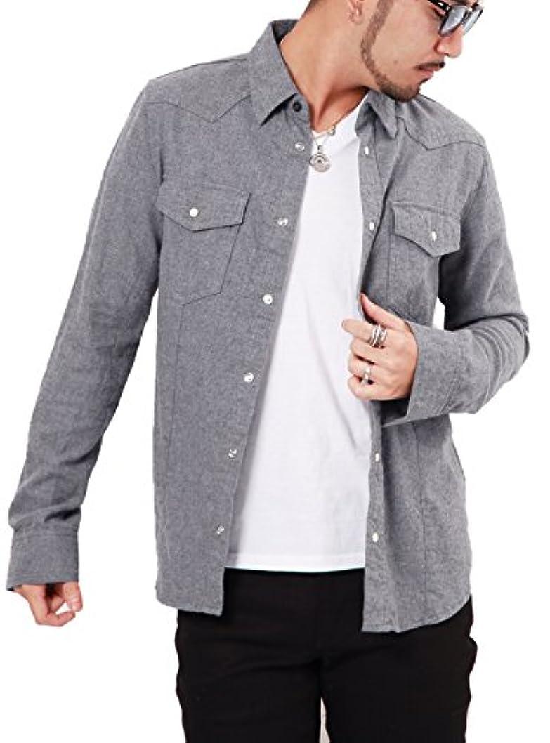 フォーム政府引き潮JIGGYS SHOP ウエスタンシャツ メンズ シャツ 長袖 無地 ネルシャツ カジュアルシャツ