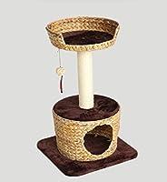 ネコちゃんキャットタワー   据え置きタイプ   爪とぎ付き  オリジナル  キャットハウス  天然素材バナナの葉