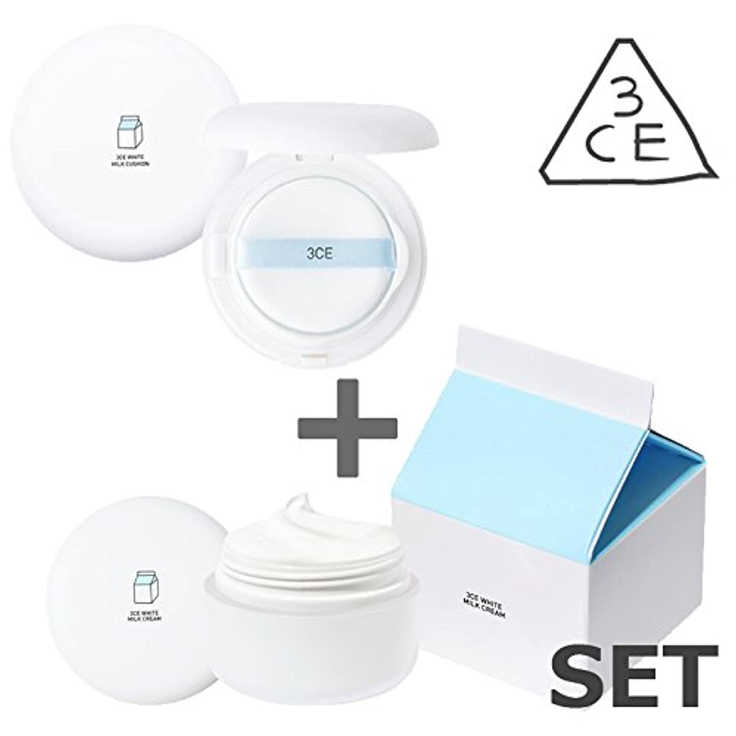[3CE / 2個セット] ホワイトミルククリーム & ホワイトミルククッション (White Milk Cream+White Milk Cushion) / 正品?海外直送品