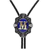 Aalphabet Letter Western Bolo string tie Initial Letters A/B/J/M/R/P/Bolo tie for Men women kids by