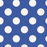 Royal Blue Dots Lunch Napkins - by Unique Party