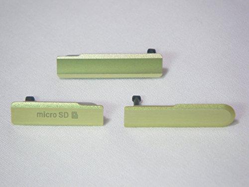 互換品 ソニー スマホ Xperia Z1f 用 サイド キャップ カバー 3点セットf (4 ライム)