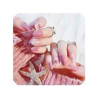 美しいマニキュアネイルステッカー女性のピンクの色のハートを完成24PCS高品質の偽ネイルアートステッカー偽ネイルのヒント