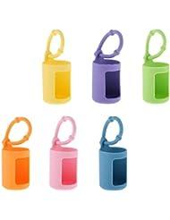 D DOLITY 6個入 エッセンシャルオイルケース 精油瓶ホルダー シリコン 香水ボトル 15ミリ カバー 吊り掛け