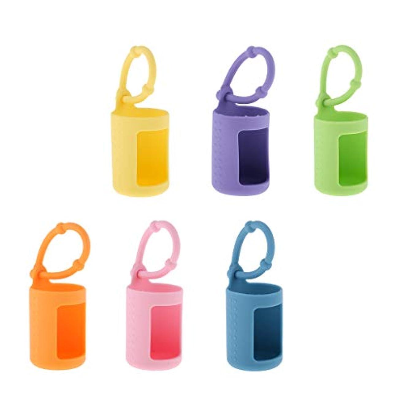 思春期の制限された慣れている6個入 エッセンシャルオイルケース 精油瓶ホルダー シリコン 香水ボトル 15ミリ カバー 吊り掛け