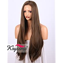 K'ryssma Natural Looking Brown Lace Front Wigs For Women Glueless Long Straight Synthetic Wig For Party