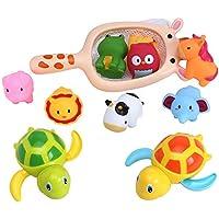 お風呂 おもちゃ シャワー 水遊び 水鉄砲 動物 魚網 ネット 亀 動く 泳ぐ つり 子供 赤ちゃん 11点セット