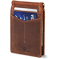 SERMAN BRANDS - RFID Blocking Leather Money Clip Slim Wallet Minimalist Front Pocket Wallets For Men Made From Full Grain Leather (Dark Cherry M1)