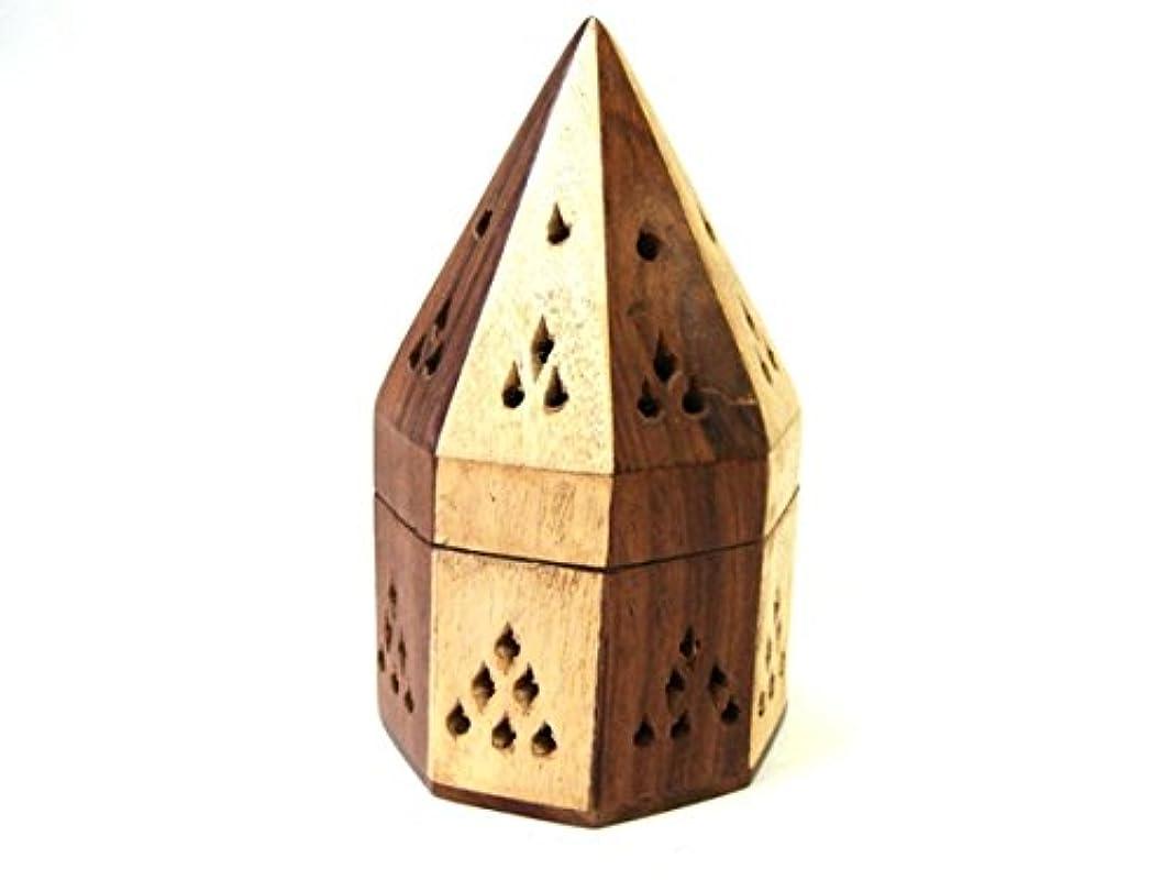 鋸歯状区別するブローシーシャムウッド 八角型お香立て(寄木)