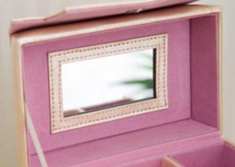 バッグ型 ジュエリーボックス 【 持ち運び便利 持ち手付き / 簡単 整理 仕切り 】 宝石箱 【 完成品 】 ピンク【弁天インテリア】