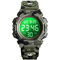 eYotto Kids Digital Watch Boys Camouflage Sports Military Wristwatches Outdoor Waterproof LED 7 Backlight Colorful Alarm Stopwatch