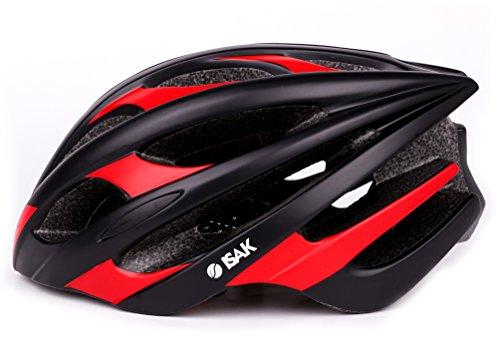ISAK ヘルメット 超軽量 磨き砂質感 自転車用 サイクルヘルメット スポーツヘルメット 【衝撃吸収/安全/通勤/通学/サイクリング】 56-61cm調整可能 大人/ジュニア用 (BlackRed)