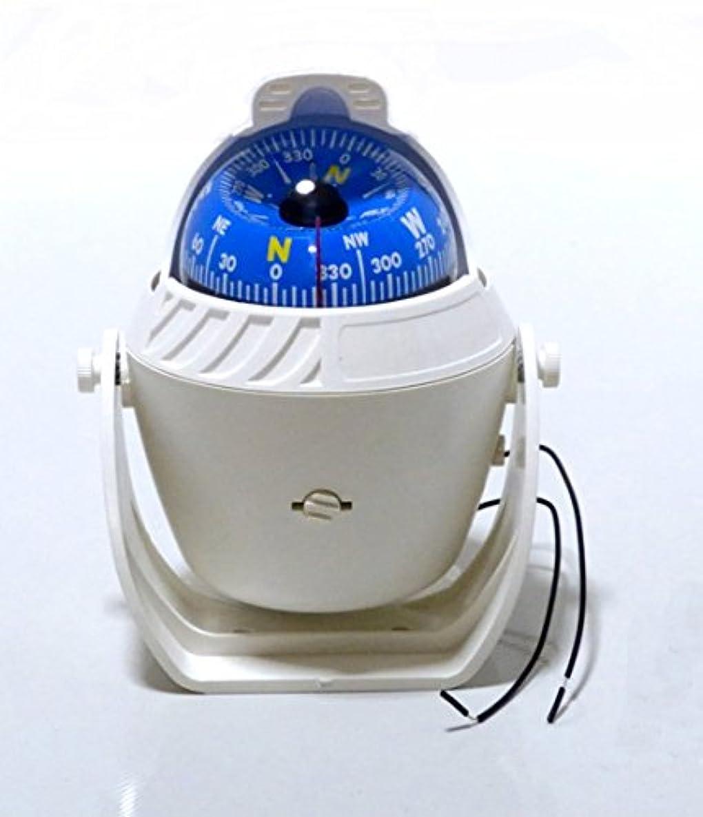 お願いします選択する統計マリンコンパス 12V LEDライト付 船舶用 方位磁石 オイル式 日本語説明書付