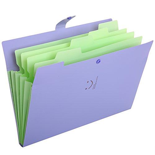 KAMA BRIDALファイルフォルダ a4 ファイルケース 5分類 書類挟み 紙挟み ドキュメントスタンド ファイルボックス 笑顔 収納 スナップ式 防水 32.4×23.6×1.9cm ブラック ピンク レッド イェロー グリンー (紫)