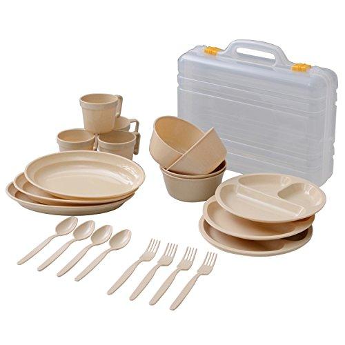 山善(YAMAZEN) キャンパーズコレクション デイパーティー食器セット(4人用6種類) ナチュラル PCW-12(NA)