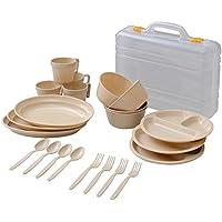 山善 キャンパーズコレクション デイパーティー食器セット(4人用6種類) ナチュラル PCW-12(NA)