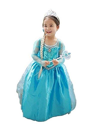 dfb259edc4ff2 コスプレ衣装 子供用ドレス アナと雪の女王 エルサ 子供用ワンピース Frozen (110) 大人気アナと雪の女王風子供用ワンピース  今年のハロウィンや仮装イベントはこれで ...