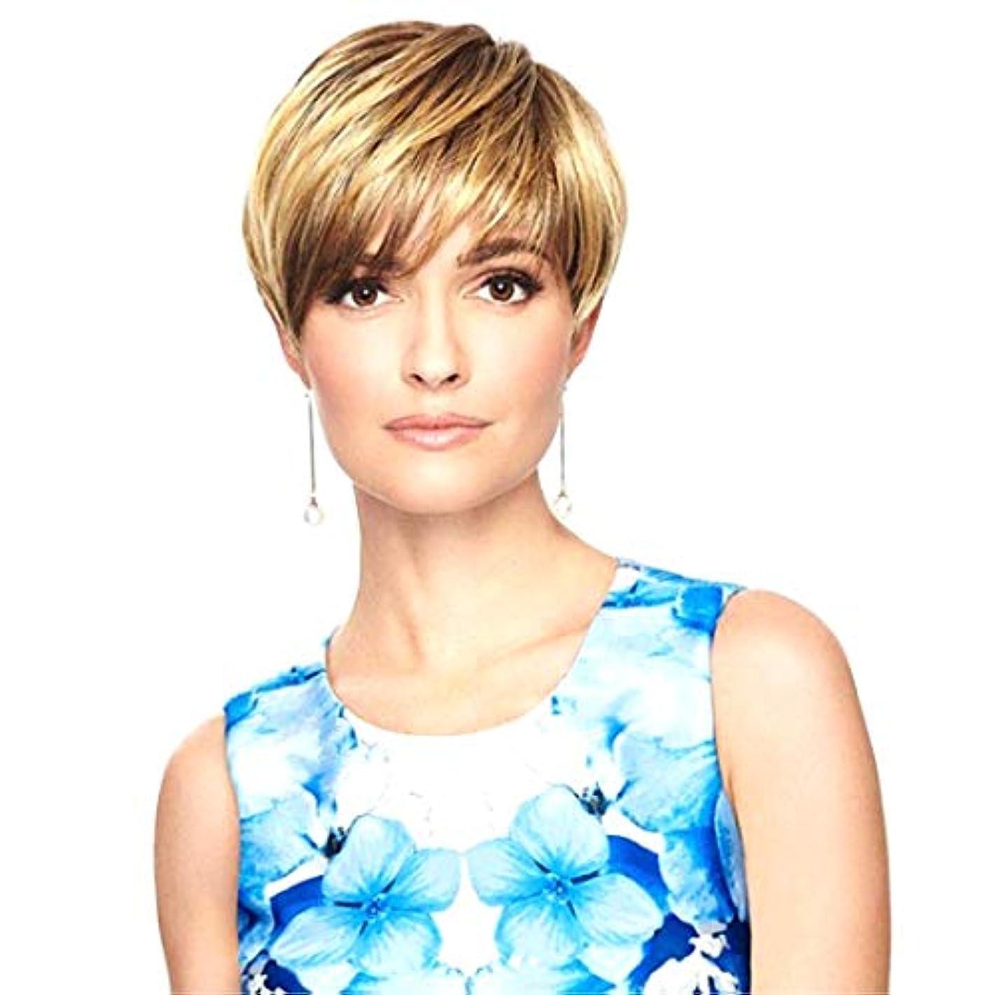 強制決定慢なKerwinner 女性のためのかつらショートセクション斜め前髪ショートストレートヘア