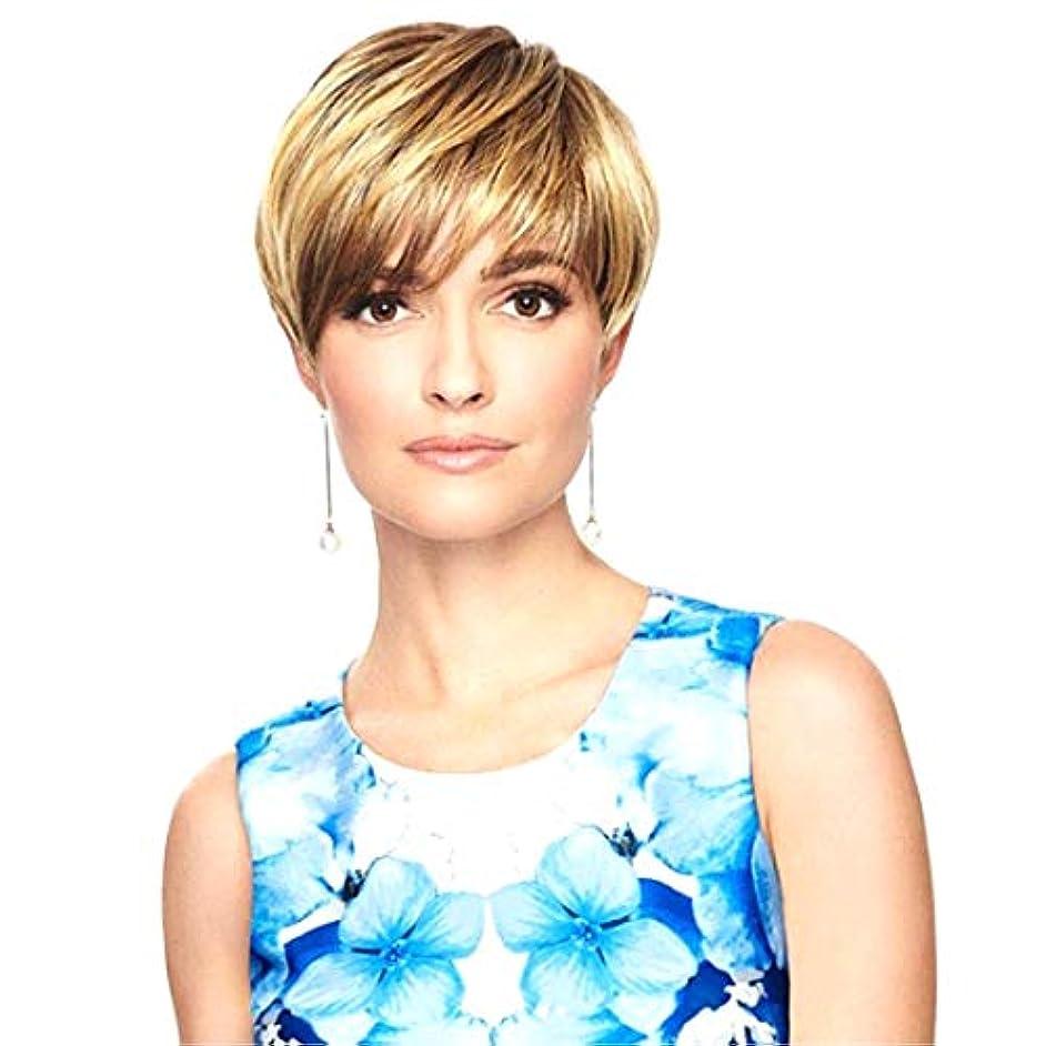 マングル制約識字Kerwinner 女性のためのかつらショートセクション斜め前髪ショートストレートヘア