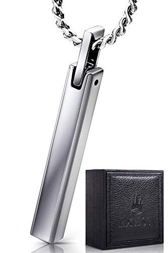EXEST ネックレス メンズ タングステン スティック ペンダント サージカル ステンレス チェーン 50cm シルバー