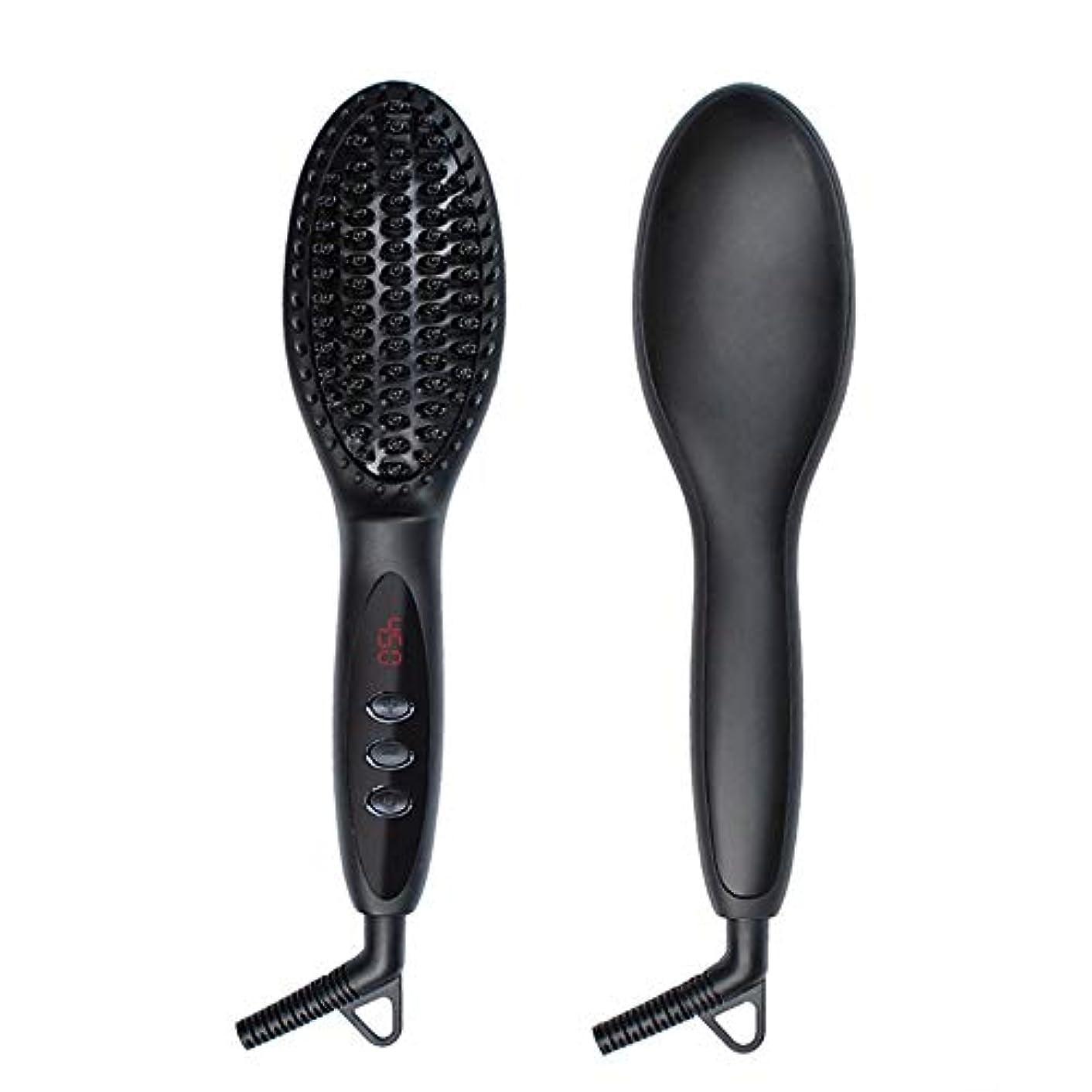 デザート志すローブZYDP イオンストレートヘアアイロンブラシファストヒートストレートヘアアイロン (色 : 黒)