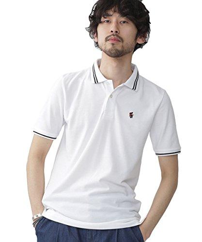 ナノ・ユニバース(nano・universe) ラインカラー刺繍ポロシャツ SS S ホワイト nano・universe