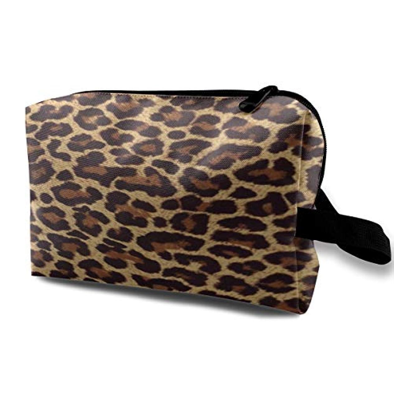 ブリード排泄物原因Leopard Print 収納ポーチ 化粧ポーチ 大容量 軽量 耐久性 ハンドル付持ち運び便利。入れ 自宅?出張?旅行?アウトドア撮影などに対応。メンズ レディース トラベルグッズ