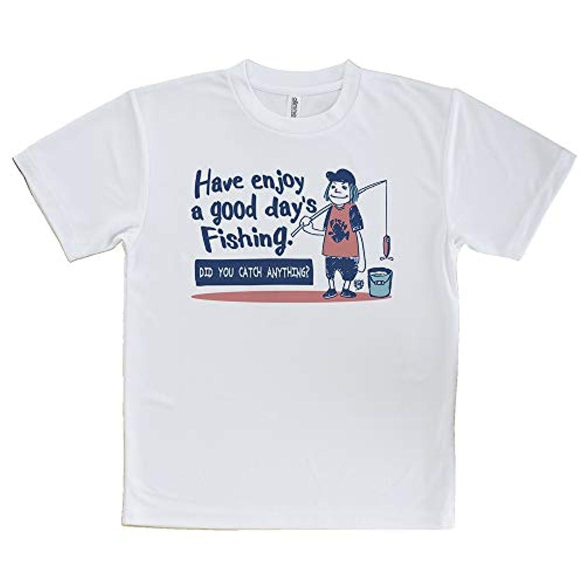 変化スクランブル身元AnglersLife Tシャツ 釣りざんまい 一日釣りを楽しむアングラー_レトロ United Athle(ユナイテッドアスレ) ホワイト 白 ポリエステル100% 4.1oz UTF30