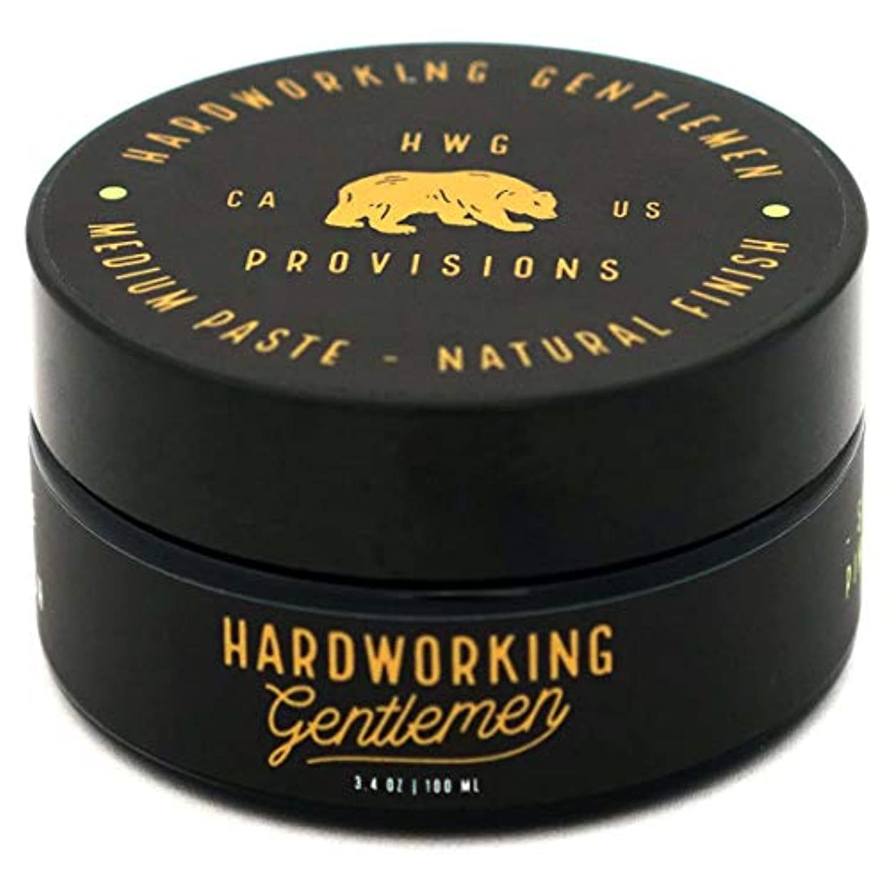 測定怠惰テンションHardworking Gentlemen (ハードワーキング ジェントルメン) Medium Paste ヘアワックス 100ml 天然成分 オーガニック