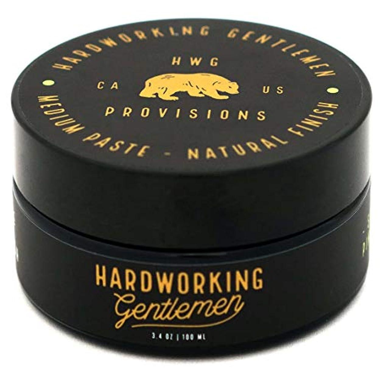 で出来ている漏れ人事Hardworking Gentlemen (ハードワーキング ジェントルメン) Medium Paste ヘアワックス 100ml 天然成分 オーガニック