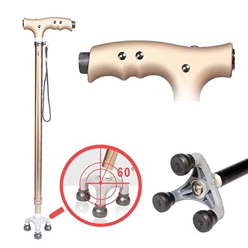 落胆する進化する味方杖、松葉杖アルミ合金の杖LEDライト付き人間工学に基づいたハンドル12の調節可能な高さのレベル高齢者の男性または女性身体障害者用3本足で回転杖 両親への最高の贈り物 (Color : Bronze)