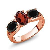 Gem Stone King 1.68カラット 天然 ガーネット 天然 オニキス シルバー925 ピンクゴールドコーティング 指輪 リング