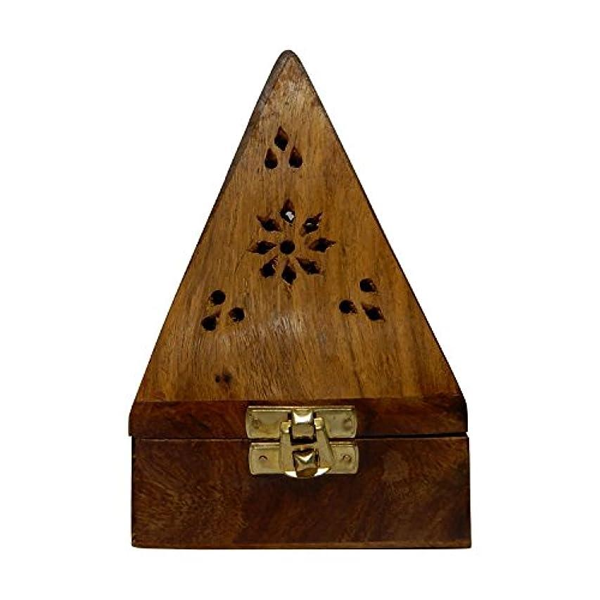 離婚生家Gift your Valentine's on Special Day Wooden Classic Pyramid Style Wooden Burnor (Dhoop Holder) With Square and...