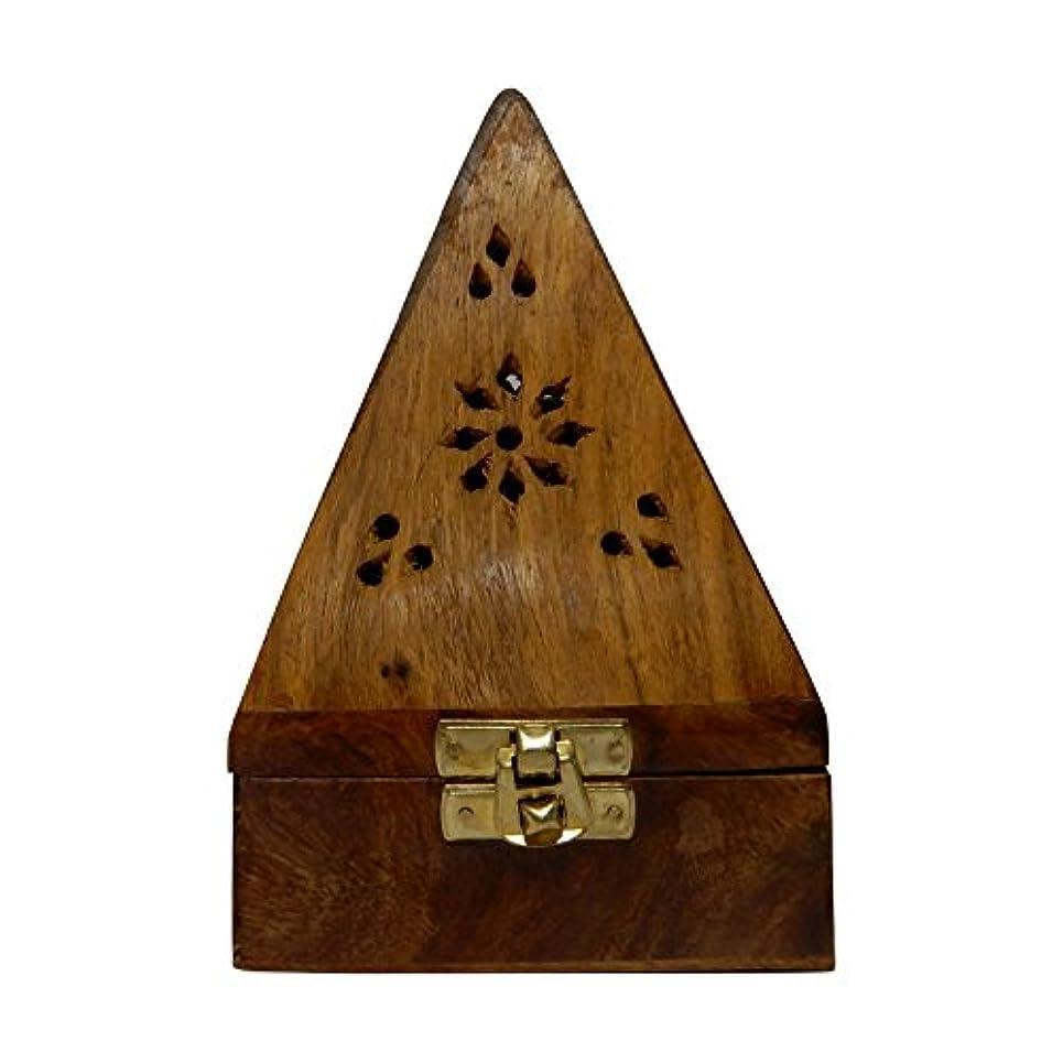 異常移民エキスパートGift your Valentine's on Special Day Wooden Classic Pyramid Style Wooden Burnor (Dhoop Holder) With Square and...