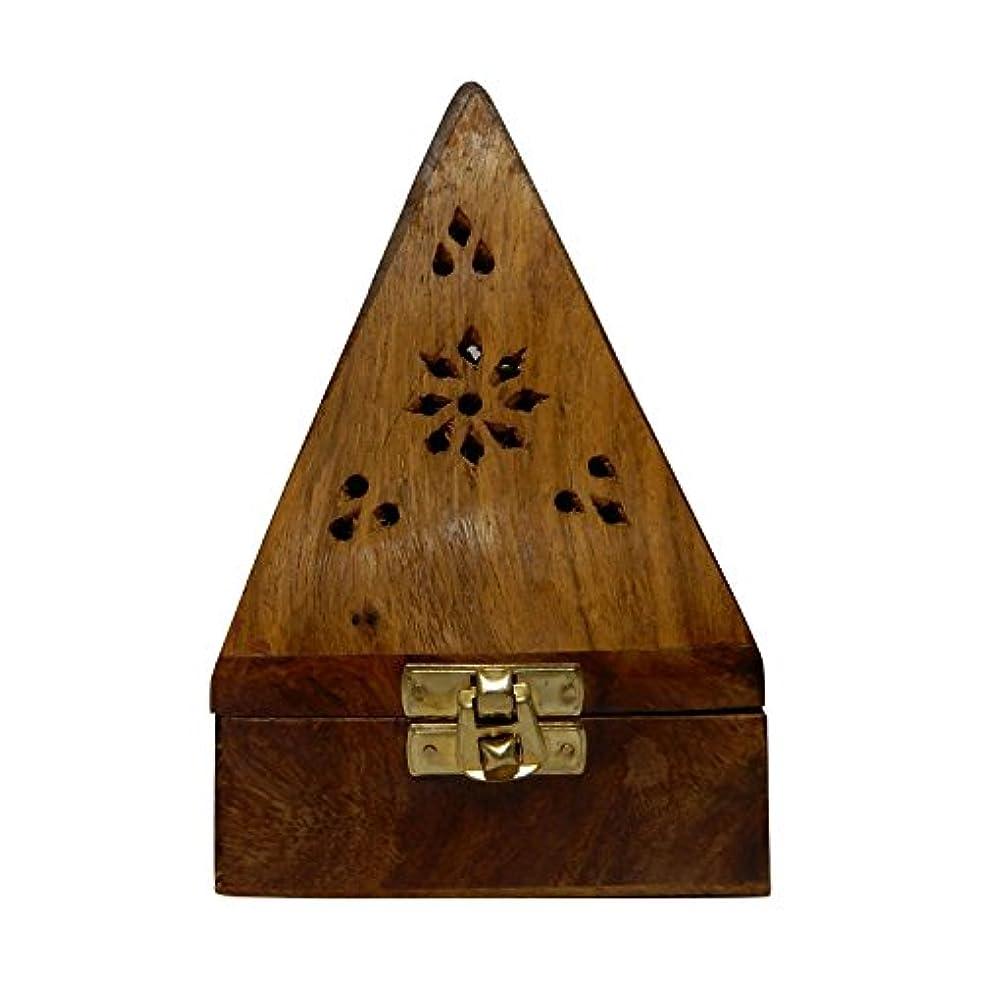 変形するかりて大脳Gift your Valentine's on Special Day Wooden Classic Pyramid Style Wooden Burnor (Dhoop Holder) With Square and...