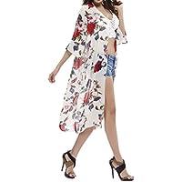 Honeystore Women's 3/4 Sleeve Floral High Low Chiffon Kimono Cardigan Blouse