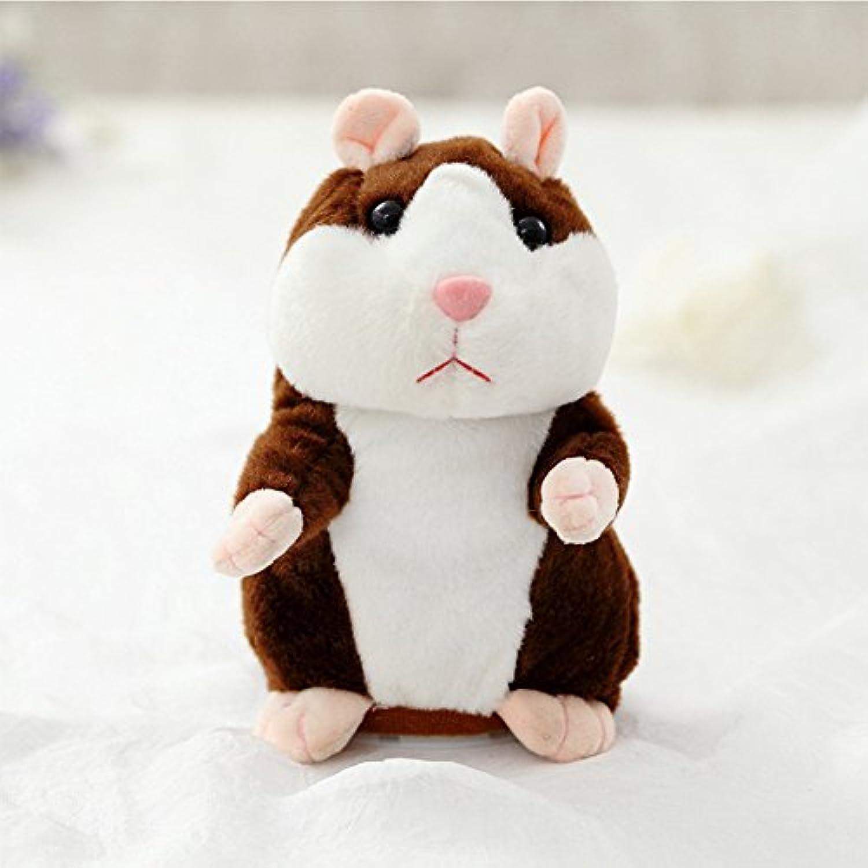 shininglove Kids Plush Hamster Toy Lovely Talkingハムスター、の初期の教育赤ちゃん、レコード、サウンド、voice-changing NodヘッドまたはWalkダークブラウンNodding Hamster 18 cm