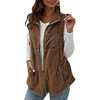 Women's Zip Up Faux Fuzzy Vest Fleece Jackets Warm Outerwear