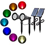 T-SUN Solar Spotlights 7 LED Color Changing Solar Lights Landscape Outdoor Spotlight Wall Light Waterproof Separately Installed Security Lighting Dark Sensing Auto On/Off 180° Angle Adjustable for Tree Patio Yard Garden Driveway Corridor Lawn (2 Pack)