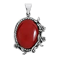 Vintage Style Floral Vines Oval Reconstructed Red Coral .925 Sterling Silver Pendant
