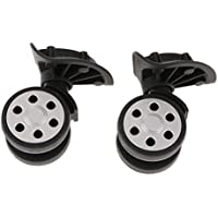 Perfk 2 Pieces/Set 360 Rotating Flexible Universal Swivel Wheels Dual Rollers Bearing Caster Replacement For Luggage Case Suitcase (YJ-604 Black)